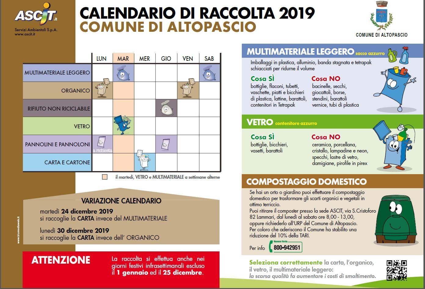 Calendario Raccolta.Avviso Calendario Raccolta 2019 Comune Di Altopascio