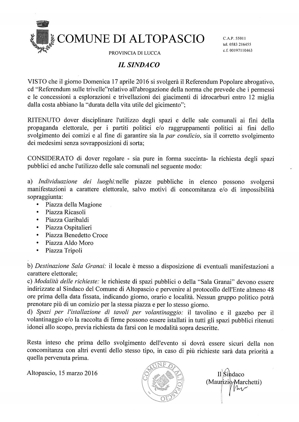 Disciplinare utilizzo spazi pubblici Referendum Popolare Abrogativo 17 Aprile 2016